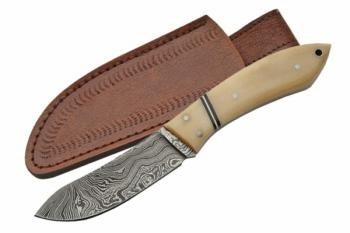 "Rite Edge DM-1073BO - 7"" Damascus Cat Skinner Bone Handle (SZ-SZDM-1073BO)"