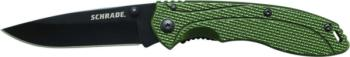 Schrade Liner Lock Folding Knife Drop Point Blade Green Aluminum Handl (SC-SCH106ALGR)