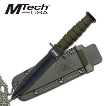 MTECH USA MT-632DGN 6 In. Mini Combat Neck Knife Black Blade- Green Ha (MC-MT-632DGN)