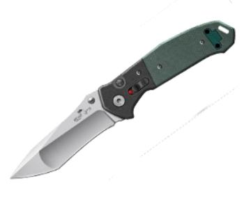 Bear & Son AC-500-B4-P - 4 1/2 inch Black & Green G10 Auto w/Bead Fini (BS-BSAC-500-B4-P)