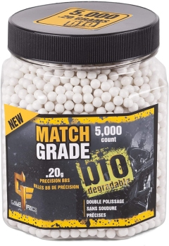 Game Face Match Grade Airsoft BBs – 0.25G 5000 Count (CN-20GBW5J)