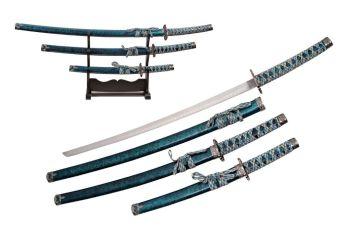 AQUA MARBLE SWORD SET (3) WITH STAND (SZ-SZ926671-BL)
