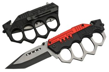 "5"" COMBAT TRENCH FOLDING KNIFE (RED) (SZ-SZ300459-RD)"