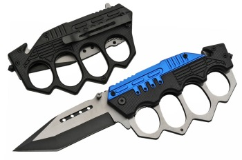 "SZ300459-BL 5"" COMBAT TRENCH FOLDING KNIFE (BLUE) (SZ-SZ300459-BL)"