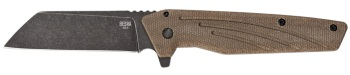 "Ontario Besra Flipper Knife 3"" Black PVD Stonewash Cleaver Blade (OK-OKC9000)"