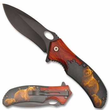 PK-3055BE - Mountain Bear Spring Assisted Knife (OH-PK-3055BE)