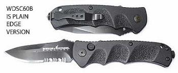 AUTOMATIC-Schrade - New Auto Reality Handle Black Plain Clip Point 3.3 (OH-ASC60B)