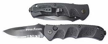 """AUTOMATIC-Schrade - Auto Black Clip Piont Part Serrated 3.3"""" Blade - A (OH-ASC60BS)"""