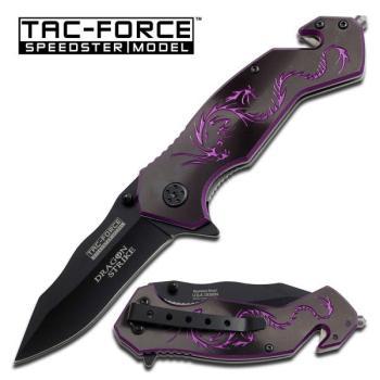 TAC-FORCE 4.5 In. Clsd Rescue Black Cd Purple Dragon Handle- Black Bla (MC-TF-759BP)