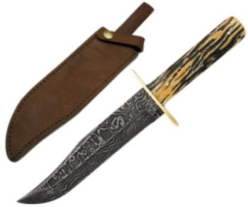 12 In. American Bowie Damascus Genuine India Stag Bone W/leather Sheat (BS-BS501D)
