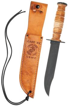 Grooved Leather USMC® Knife with Leather Sheath (CA-0334)