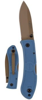 "Dozier Folding Hunter 3"" D2 Coyote Tan Plain Blade, Steel Blue Zytel H (KB-KB4062D2)"