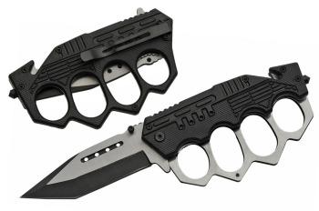 """SZ300459-BK 5"""" COMBAT TRENCH FOLDING KNIFE (BLACK) (SZ-SZ300459-BK)"""
