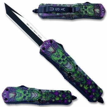 MOTF22T - Green & Purple Skull Tanto Blade OTF Knife (OH-MOTF22T)