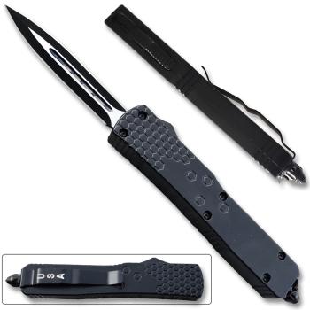 LOTF902 - Slim Black OTF Spear Point w/ Clip & Glass Breaker (OH-LOTF902)