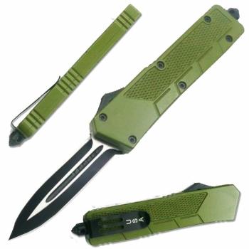 LOTF201GR - Full Size Green OTF Spear Pt with Glass Breaker (OH-LOTF201GR)